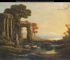 An Extensive River Landscape With Classical Ruins by (after) Claude Lorrain (Gellee)