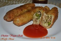 Chicken Veggie Rolls by my hubby - Recipe in comments   Just yum & easy to make  http://haffaskitchen.blogspot.com/2014/08/chicken-veggie-rolls.html