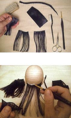 Making doll hair from the dissolved silk ribbon.Making doll hair splayed out silk ribbon. Discussion on LiveInternet - Russian Service Online DiariesBJD Hair for dolls of satin ribbons (♥♥) May could make own wig like this?in Russian and uses rib Doll Wigs, Doll Hair, Clay Dolls, Bjd Dolls, Doll Crafts, Diy Doll, Doll Making Tutorials, Sculpting Tutorials, Doll Tutorial