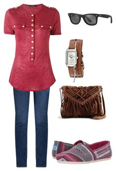 """""""Casual"""" by disfan ❤ liked on Polyvore featuring M.i.h Jeans, Balmain, Ray-Ban, TOMS and Coach"""