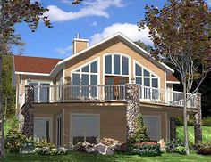 plan 90075pd for the sloping lot house plans lakehillside