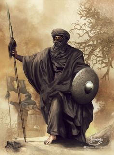 m Berber Ranger Med Armor Shield Spear Cloak warrior from desert tribes like the Sanhaja or Masmuda, taking part in the Ummayad invasion of Spain under the leadership of Tatiq Ibn Zyad, in 711 (painting by C. Giannopoulos, in: Medieval Warfare, vol. Fantasy Warrior, Fantasy Rpg, Medieval Fantasy, Fantasy World, Character Concept, Character Art, Concept Art, Fantasy Inspiration, Character Inspiration