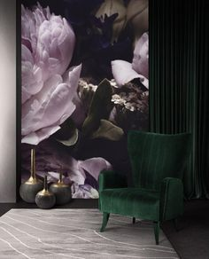 Bright Purple Peonies Wallpaper Mural Dark Floral Removable