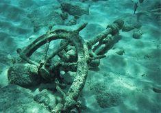Windjammer:  Old #ship's #wheel from a Bahamas shipwreck.
