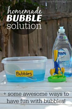 Homemade Bubble Solution Plus Fun Bubble Activities Bubble Solution Recipe, Homemade Bubble Solution, Homemade Bubbles, Bubble Activities, Craft Activities For Kids, Infant Activities, Montessori Activities, Kid Crafts, Bubble Fun