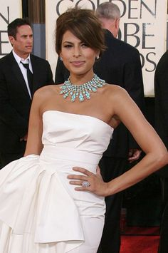 Eva Mendez at the Golden Globes. Rachel Zoe and Eva know how to style a dress.