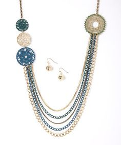 Another great find on #zulily! Gold & Blue Multi-Chain Filigree Necklace & Earrings by Ethel & Myrtle #zulilyfinds