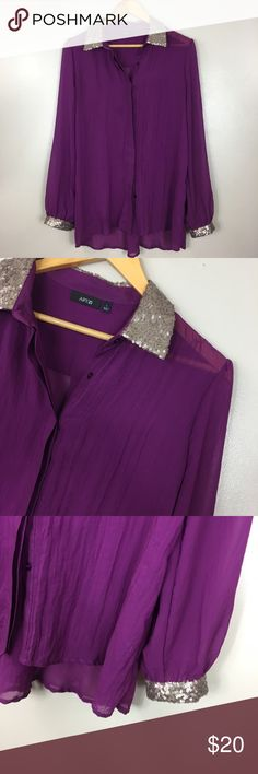 "Apt. 9 Purple sequin women's large Tunic Excellent condition. No flaws. 100% polyester. Size medium. Looks great with leggings and knee high boots. Button closure. Bust  42"" length 29"". Apt. 9 Tops Tunics"