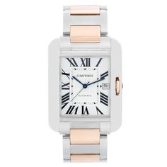Cartier Tank Anglaise Stainless Steel and Rose Gold Mens Watch - Automatic winding . Stainless steel case ( 36 x ) Open case back . Silvered dial with lacquered flinque dial. Rose gold and stainless steel bracelet . Pre-owned with Cartier box and papers . Cartier Tank Anglaise, Cartier Calibre, Cartier Men, Cartier Watches, Cartier Roadster, Cartier Santos, Stainless Steel Tanks, Stainless Steel Bracelet, Rolex