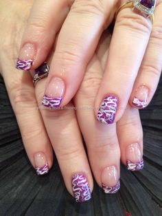 Purple and pink freehand nail art