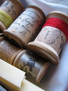 stamped spools with stamped ribbon. What a great addition to a gift kit.