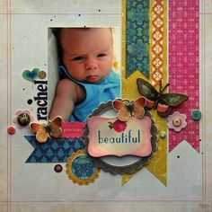 Scrapbook Layout Simple Bright Colors - Graham& Bright and Modern Nursery. Baby Girl Scrapbook, Baby Scrapbook Pages, Kids Scrapbook, Scrapbook Sketches, Scrapbook Page Layouts, Scrapbook Supplies, Baseball Scrapbook, Paper Bag Scrapbook, Scrapbook Cards