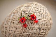 Jewelry  Earrings  red poppy earrings  swarovski earrings  red swarovski  red flowers earrings  handmade earrings earrings for gift  red earrings  fimo earrings  clay earrings  wildflowers earrings  bronze earrings  heart earrings