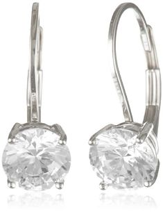 1b7082aef Platinum-Plated Sterling Silver and Round-Cut Cubic Zirconia Lever Back  Earrings Amazon Curated