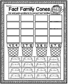 Printables Fact Family Worksheets 2nd Grade fact families math facts and thanksgiving on pinterest