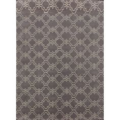 Handmade Moroccan Trellis Scroll Grey Wool Rug (5' x 8')