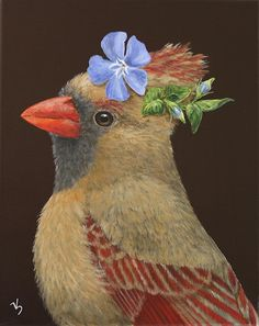"pagewoman: "" Female Cardinal with hat by Vicki Sawyer "" Illustrations, Illustration Art, Painting Gallery, Whimsical Art, Animal Paintings, Bird Art, Landscape Art, Beautiful Birds, Pet Portraits"