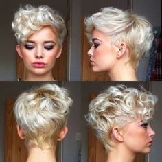 Long pixie hairstyles are a beautiful way to wear short hair. Many celebrities are now sporting this trend, as the perfect pixie look can be glamorous, elegant and sophisticated. Here we share the best hair styles and how these styles work. Pixie Cut Blond, Short Wavy Pixie, Curly Pixie Cuts, Pixie Cut With Bangs, Short Curly Hair, Curly Hair Styles, Blonde Pixie, Pixie Bob, Curly Blonde