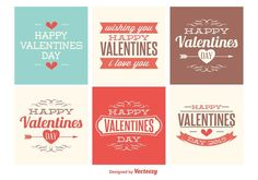 Vector Cute Mini Valentines Day Cards