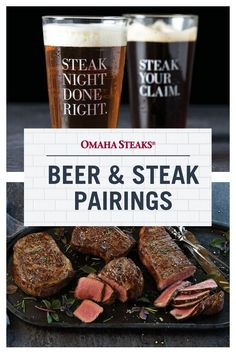 Easy guide to pair your favorite steaks with the right beer. Find the best steak to eat with your favorite stouts, lagers, pale ales and pilsners. Rib Eye Recipes, Beer Recipes, Cooking Recipes, Top Sirloin Steak Recipe, Pale Ale Beers, Omaha Steaks, Beer Pairing, Wheat Beer, Best Steak