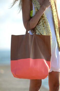 Celine- coral color block beach tote