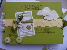 Personalized Baby Photo Scrapbook... Great ideas to do on your own. Love the ribbons and buttons.