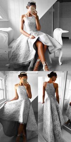 High Low Homecoming Dresses,Light Grey Homecoming Dresses,Lace Homecoming Dresses,Homecoming Dresses 2017