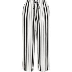 Live Unlimited London Black / White Plus Size Drawstring wide leg... ($65) ❤ liked on Polyvore featuring pants, black, plus size, plus size elastic waist pants, long wide leg pants, drawstring pants, white wide leg trousers and plus size pants