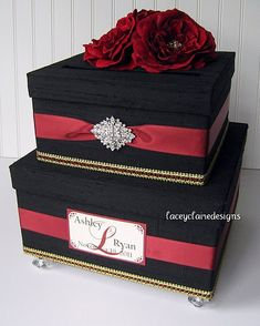 Sophisticated and elegant red and black wedding card box