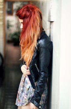 red -- strawberry blonde ombre   love love love love.  i had this goin on when i got my hair did. would love to do this agian.