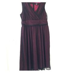 Red and Black Dress Red dress with black sheer overlay. Worn once to a wedding and not again. Comfortable. Dresses