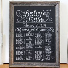 "Seating chart for wedding, 18"" x 24"" canvas, custom hand-drawn lettering chalkboard art inspired"