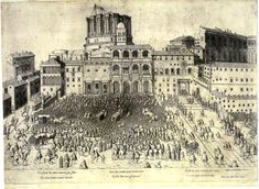 Piranesis drawing of Old St Peters square ca. 1660 at Roger Pearse