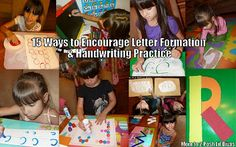 15 Ways to encourage proper letter formation and promote handwriting practice in fun hands-on ways #preschool #alphabet