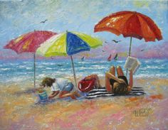 At the Beach Oil Painting beach paintings by VickieWadeFineArt