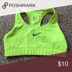 Nike Yellow Sports Bra Great condition. I just don't wear it. Nike Intimates & Sleepwear Bras