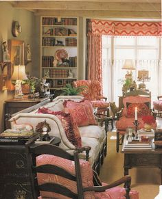 French Country Decorating via Hydrangea Hill Cottage  Like Accessory arrangement and book shelves for living room