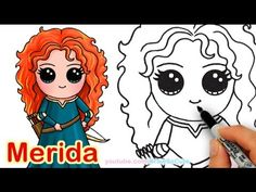 How to Draw Disney Princess Merida from Brave step by step Cute (Drawing Step Hotel Transylvania) Drawing Cartoon Characters, Character Drawing, Cartoon Drawings, Easy Drawings, Cartoon Illustrations, Cute Disney Drawings, Disney Princess Drawings, Cute Kawaii Drawings, Drawing Disney