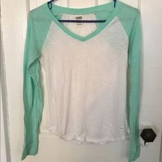 I just added this to my closet on Poshmark: PINK by Victoria Secret teal and white baseball T. Price: $13 Size: XS