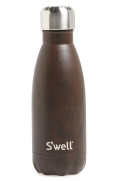 Free shipping and returns on S'well 'Wood Collection' Stainless Steel Water Bottle (9 oz.) at Nordstrom.com. Stay hydrated in high style with a sleek, double-walled stainless-steel water bottle featuring ThermaSwell™ fabrication that keeps cold drinks cold for up to 24 hours and hot drinks hot for up to 12. Designed to fit in a standard car cup holder, it features a wide mouth that makes it easy to fill, add ice cubes and clean.