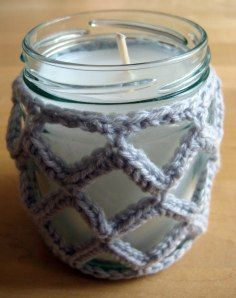 Crochet Jar Cover III: Lattice Effect.             ~ This would also make a lovely hanging plant holder, with an added cord & loop.