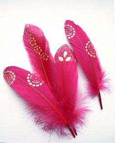 Red gold painted feathers Christmas feather decor Red gold
