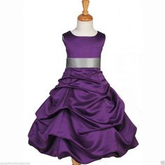 PURPLE PAGEANT TODDLER JUNIOR WEDDING FLOWER GIRL DRESS 2 3T 4 6 7 8 10 12 14 16 #Dress. I think this is the one! $28.99. Do they have Cia's size? Get it with the Royal Blue tie.