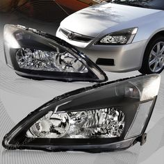 Details About For Honda Accord Dx Lx Ex Black Housing Clear Lens W Reflector Headlights