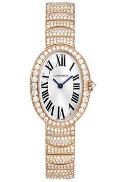Cartier HPI00326 Baignoire Baignoire Small - швейцарские женские часы наручные, золотые с бриллиантами, белые