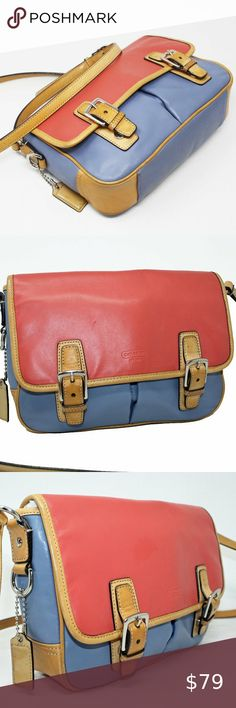 Shop Women's Coach Blue Red size x x Crossbody Bags at a discounted price at Poshmark. Description: This cute color blocked messenger is in very good used condition. Size: x x AUTHENTICITY GUARANTEED. Coach Handbags, Coach Purses, Purses And Handbags, Crossbody Bags, Satchel, Cheap Coach Bags, Authenticity, Messenger Bag, Size 10