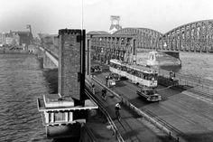 Rotterdam: De Willemsbrug en de spoorbrug 1959 Rotterdam, Light Rail, Sydney Harbour Bridge, Walkway, Paths, Holland, Dutch, The Past, Travel