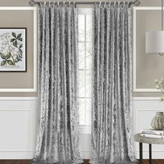 Great for Vickers Harper Criss-Cross Solid Semi-Sheer Tab Top Single Curtain Panel by Home Decor Furniture from top store Tab Top Curtains, Rod Pocket Curtains, Drapes Curtains, Curtains Living, Silver Curtains, Glitter Curtains, Crushed Velvet Fabric, Silver Crushed Velvet Curtains, Grey Velvet Curtains