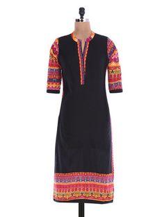 Buy Indian Virasat Black printed quarter-sleeved cotton kurta Online, , LimeRoad Mandarin Collar, Quarter Sleeve, Black Print, Kurti, Cold Shoulder Dress, Short Sleeve Dresses, Indian, Printed, Lady