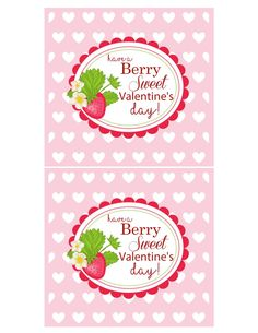 FREE berry sweet valentines sign. Berry Sweet Strawberry Valentine's Day Party with FREE printables! By Kara's Party Ideas for Canon.